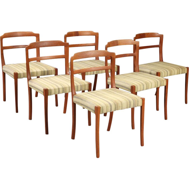Set of 6 vintage Teak Dining Chairs By Ole Wanscher 1960s