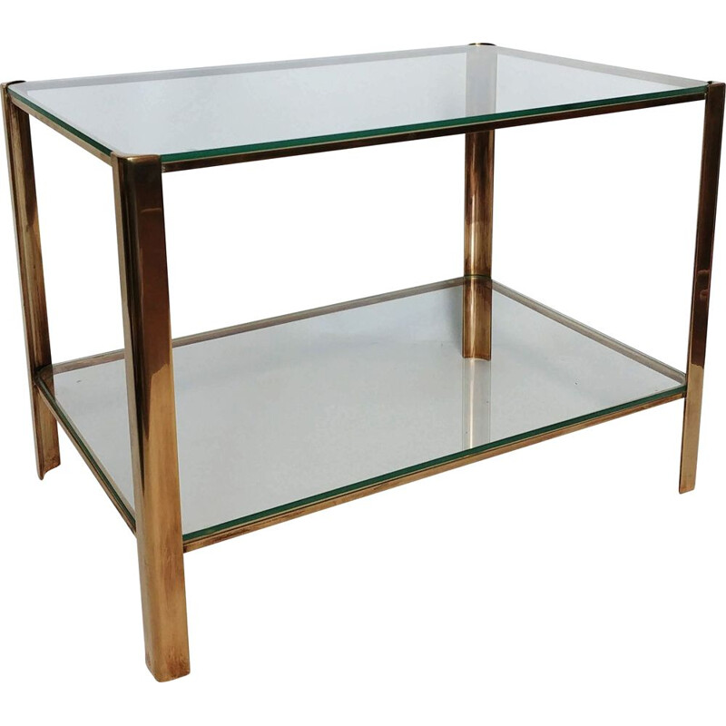 Vintage Jacques Quinet side table for Maison Malabert in bronze 1960s