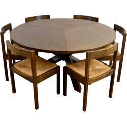Table and its 6 chairs in wenge wood, Martin VISSER - 1960s