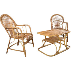 Set of chairs and coffee table in rattan - 1950s