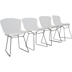 Set of 4 white Knoll chairs in metal, Harry BERTOIA - 1960s