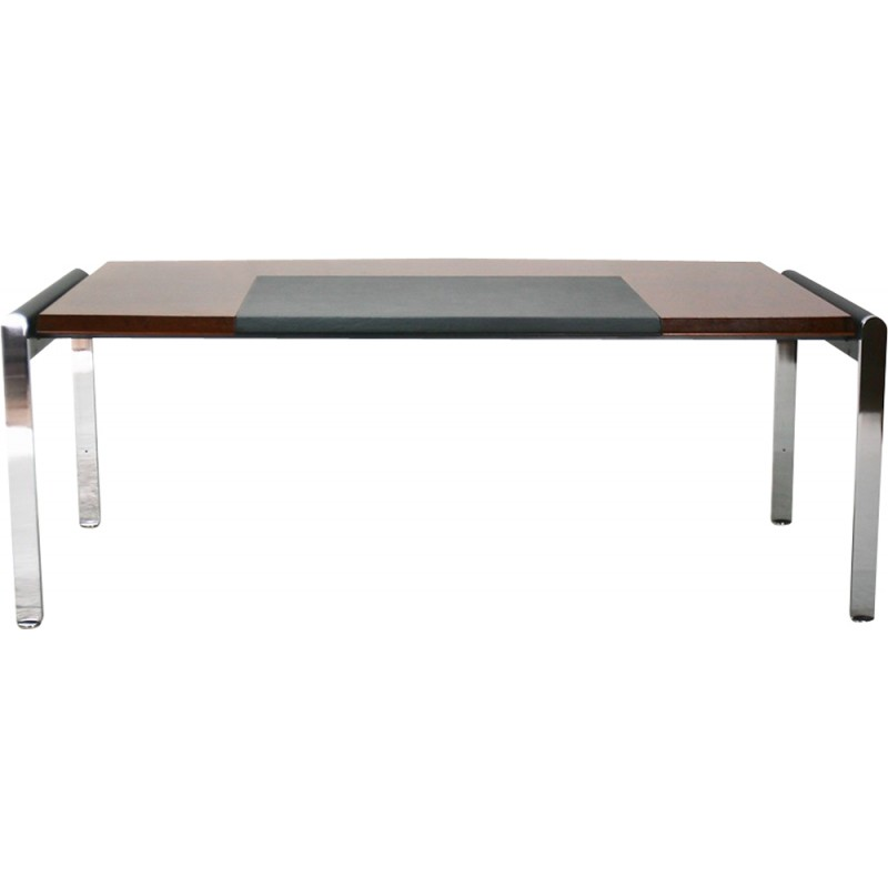 Knoll Executive Desk In Sapeli Wood Chrome And Leather 1980s