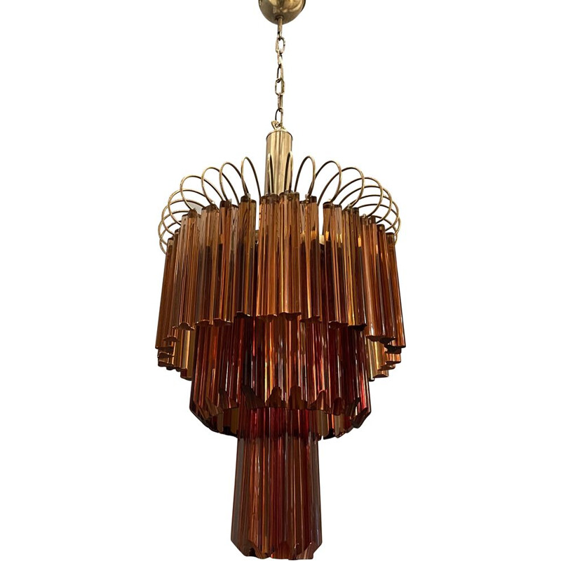 Large vintage Murano Glass Prism Rose Caramel Chandelier by Venini Paolo 1960s