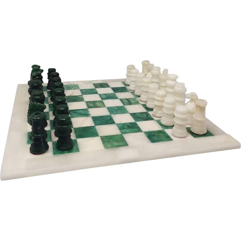 Vintage Green and White Chess Set in Volterra Alabaster Handmade, Italy 1970s