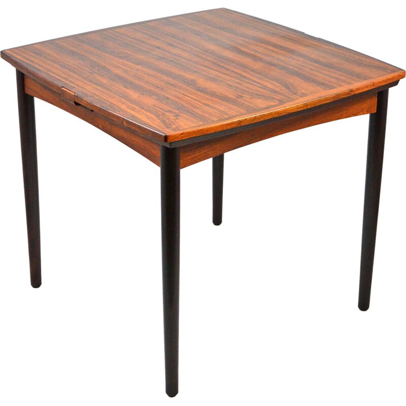 Vintage Rosewood Extendable Dining Table or Game Table by Poul Hundevad, Danish 1960s
