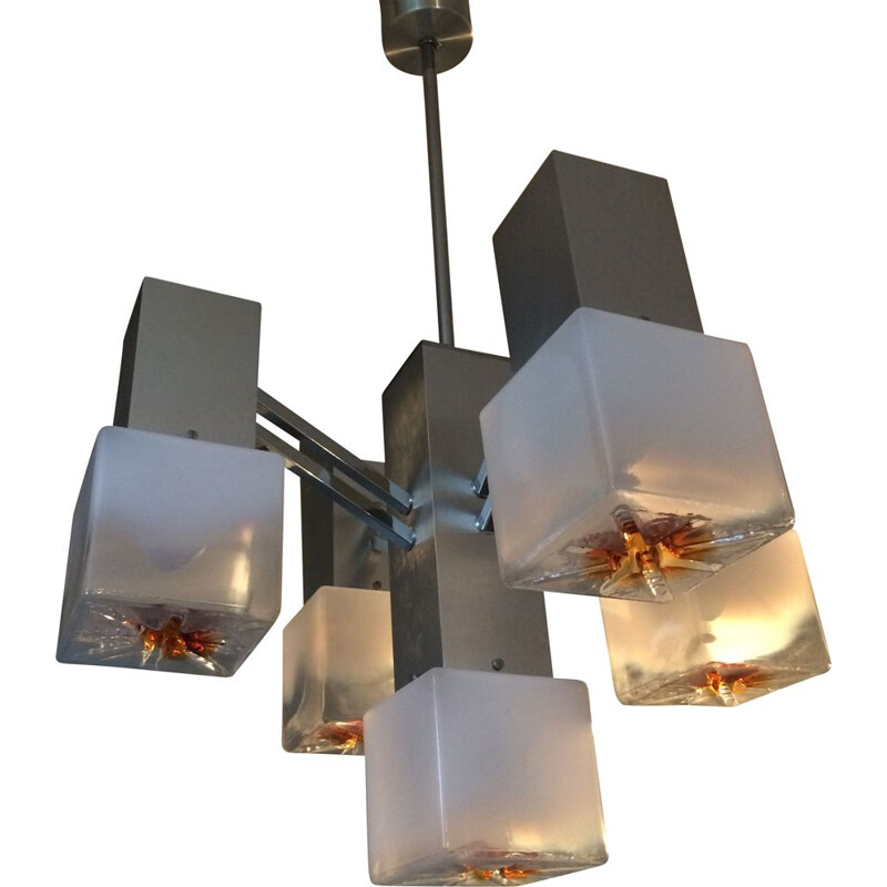 Vintage chandelier by Gaetano Sciolari for Mazzega.1970s
