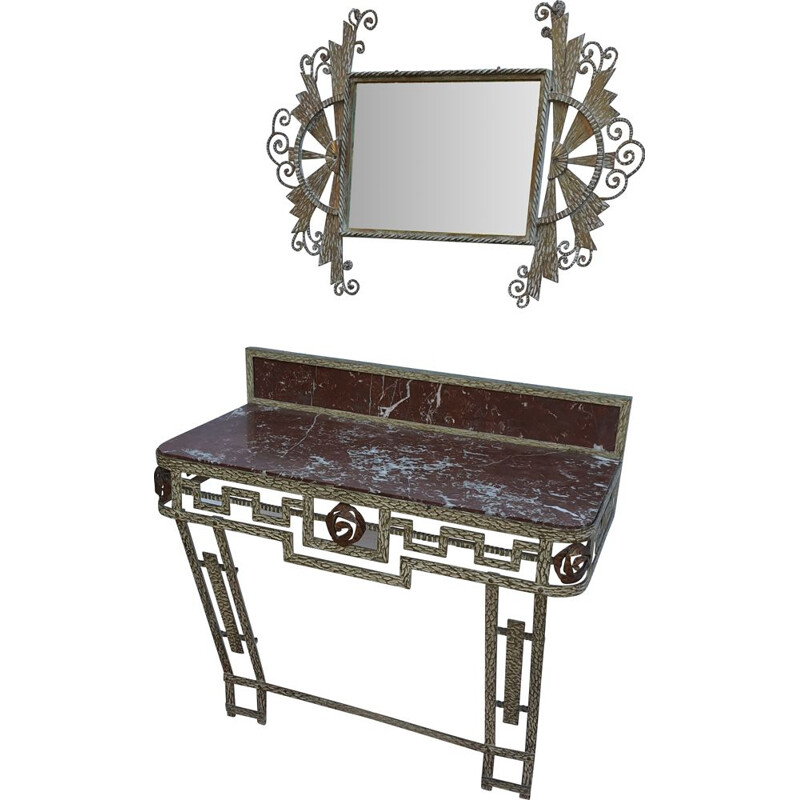 Vintage Wrought iron console and mirror