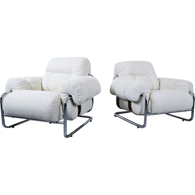 "Pair of vintage ""Tucroma"" Armchairs by Guido Faleschini for Mariani, Italian 1970s"