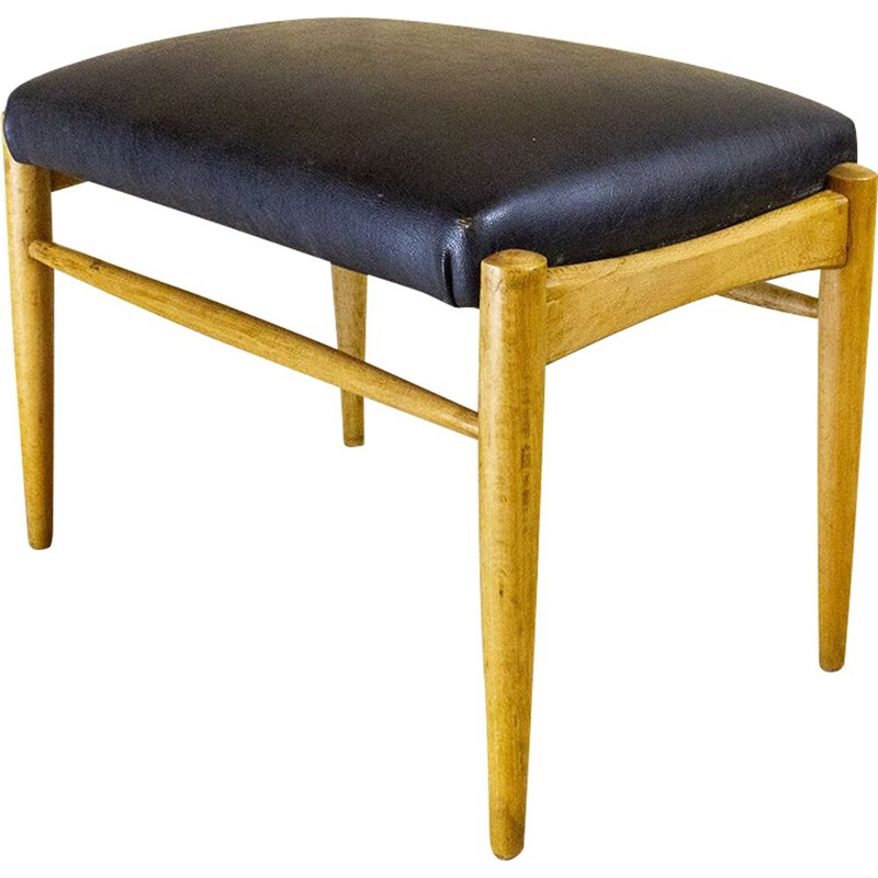 Mid Century Wood And Leather Footstool, Spain 1950s