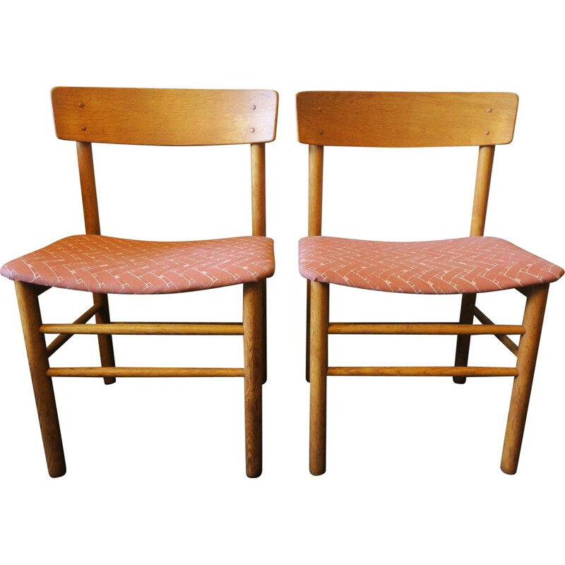 Pair of vintage Elm J39 Side Chairs by Borge Mogensen for Farstrup Mobler 1950s