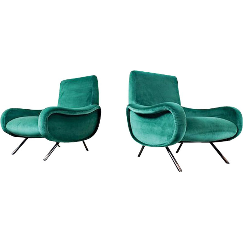 Pair of vintage Zanuso Armchairs For Arflex Lady 1950s