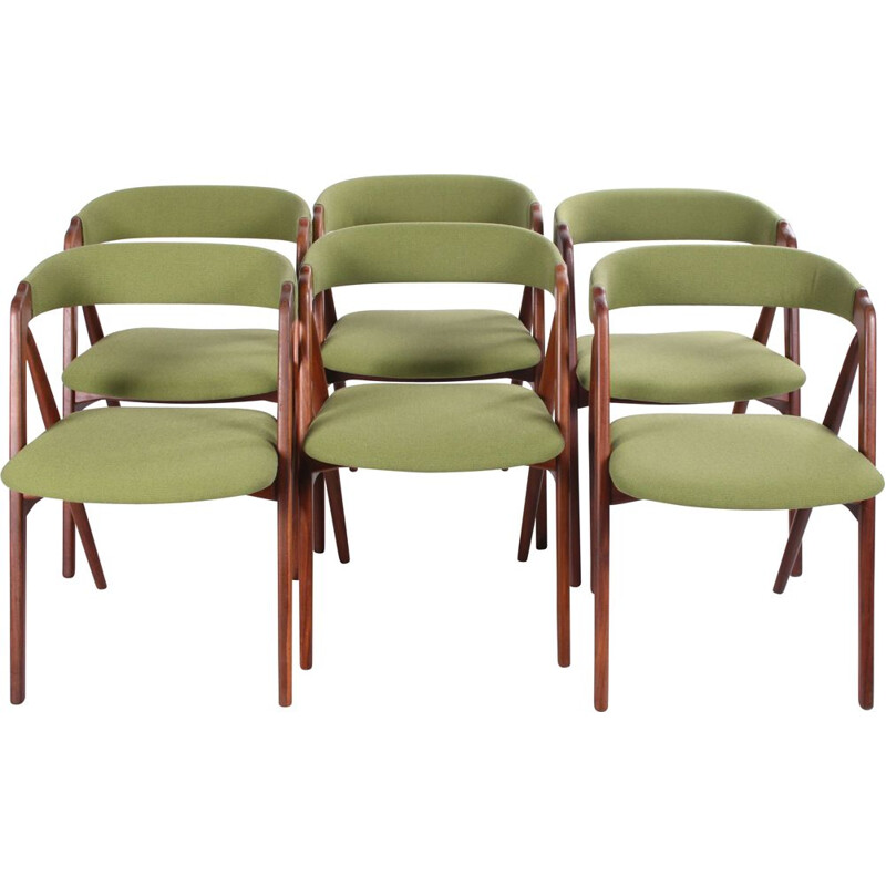 Set of 6 vintage Dining Chairs by Th. Harlev for Farstrup Mobler 205, Denmark 1960s