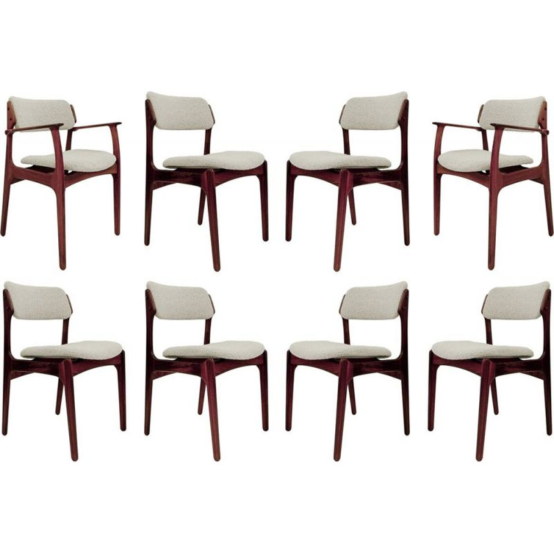 Set of 6 vintage Chairs & 2 Armchairs By Erik Buch, Danish 1960s