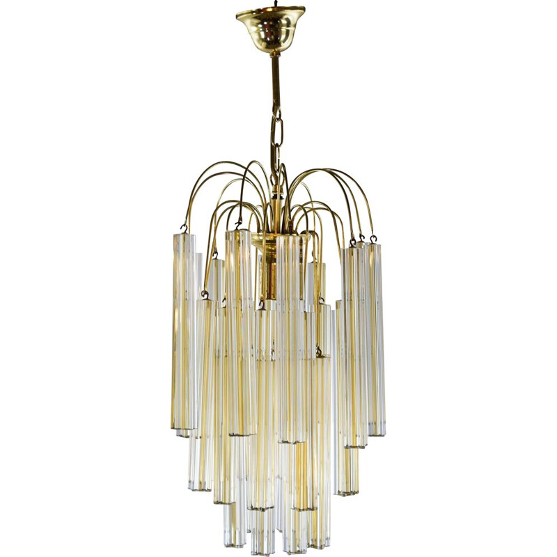 Vintage Two toned chandelier in Murano glass by Paolo Venini