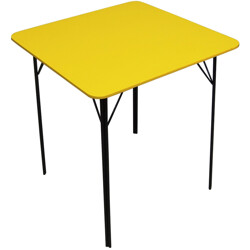 Dining table in metal and yellow painted plywood- 1960s