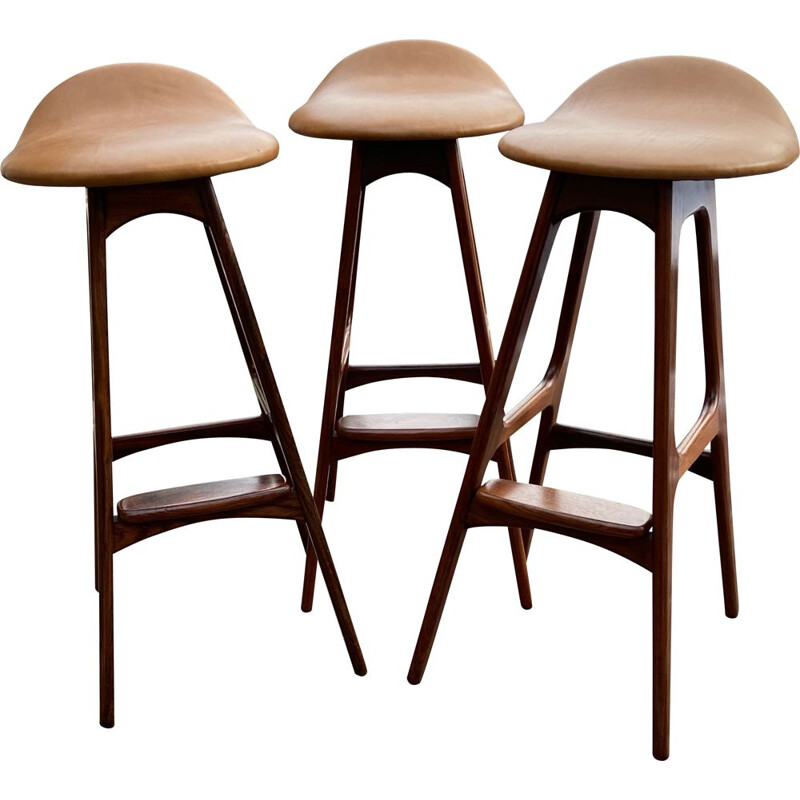 Set of 3 vintage Barstools by Erik Buch for O.D Mobler