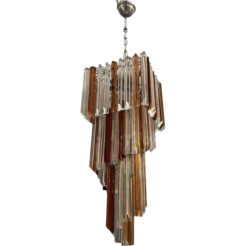 Large vintage Murano Glass Prism Chandelier 1970s