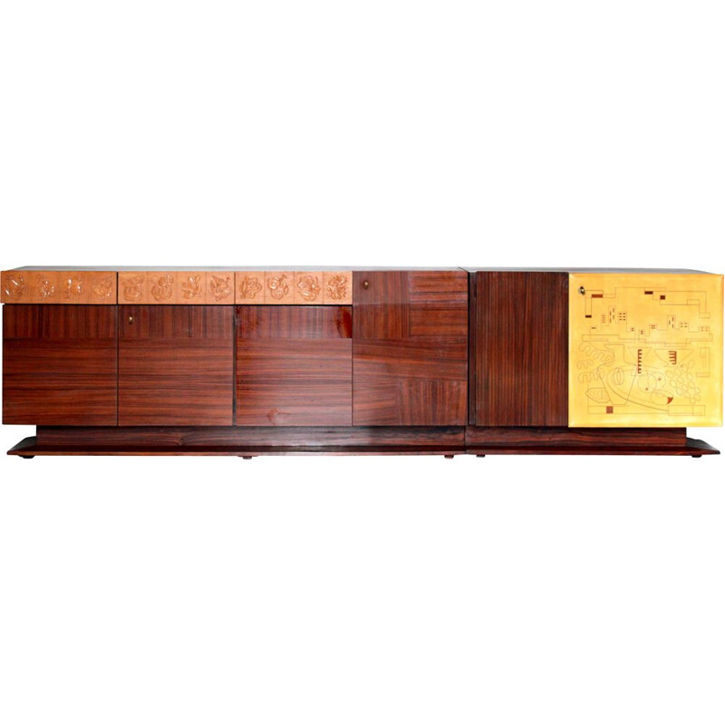 Vintage Mahogany Sideboard Mid-Century  by Dassi Italian 1950s