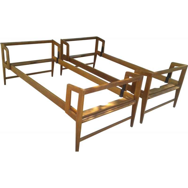 Pair of French beds in metal and oakwood, Marcel GASCOIN - 1950s