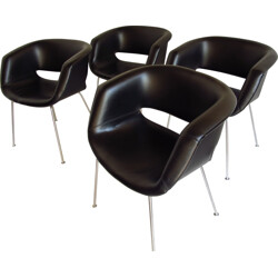 Set of 4 Artifort chairs in black leatherette, Geoffrey HARCOURT  - 1960s