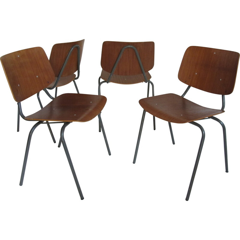 Set of 4 Industrial dining chairs, Kho LIANG IE - 1960s