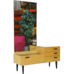 Dressing table in ashwood and metal with mirror - 1950s