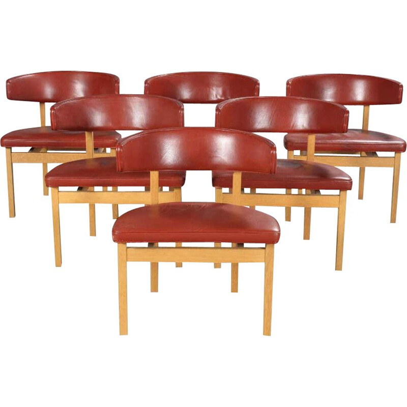 Set of 6 vintage Conference Chairs in Oak by Borge Mogensen, Danish 1962s