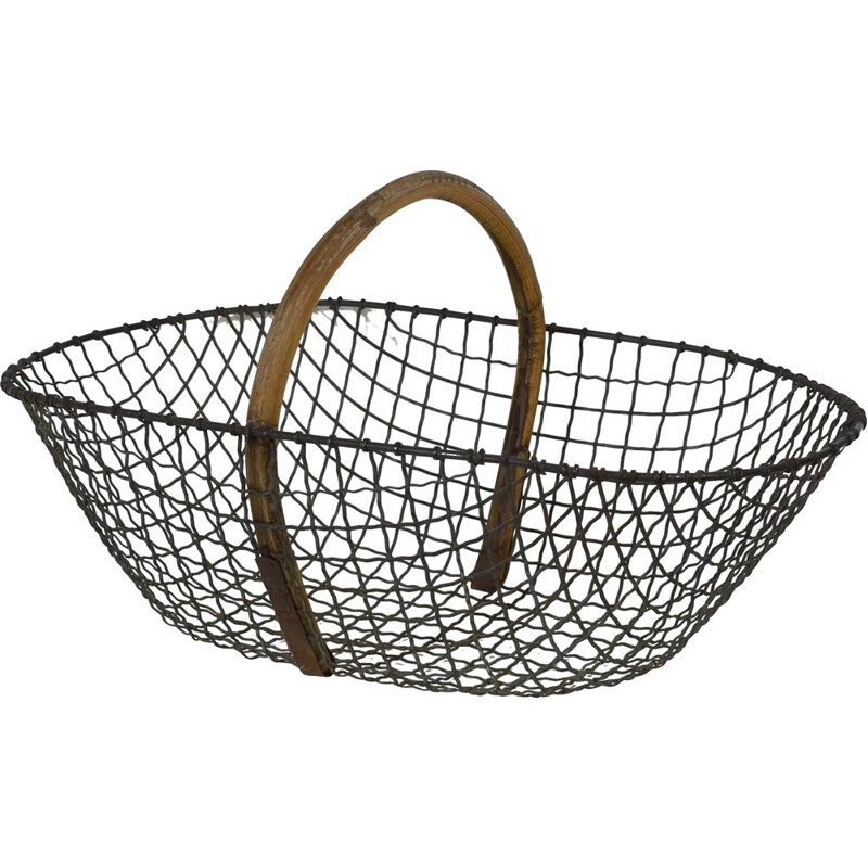 Vintage metal and bentwood basket 1920s