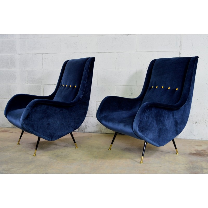 1950s Lounge Armchairs Re Upholstered In Multicolored: Pair Of I.S.A. Bergamo Armchairs Reupholstered In Bue
