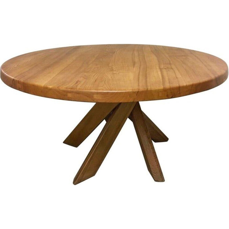 Vintage dining table in solid elm T21d or Sfax by Pierre Chapo, France 1960s