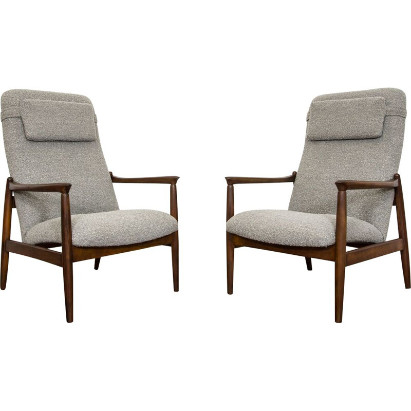 Pair of vintage GFM-64 High Back Armchairs by Edmund Homa for GFM 1960s