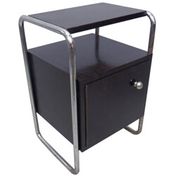 Night stand in black painted wood and chromed steel - 1930s