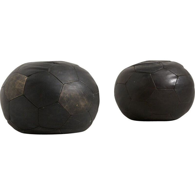 Pair of vintage Leather Poufs by De Sede, Switzerland 1970s