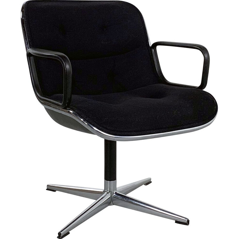 Vintage Black Fabric Office Chair by Charles Pollock for Knoll 1970s