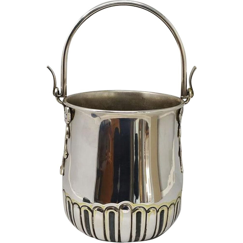 Vintage Ice Bucket in Silver Plated by Aldo Tura for Macabo. Italy 1950s