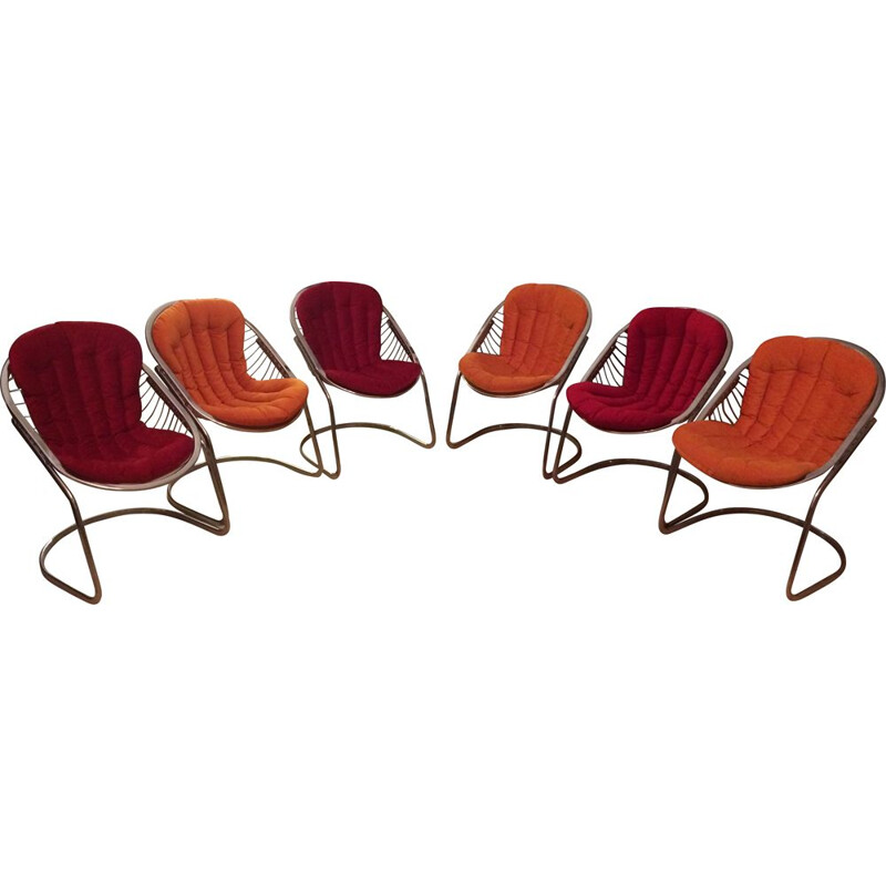 """Lot of 6 vintage """"Egg chair"""" chairs by Gastone Rinaldi.1970"""