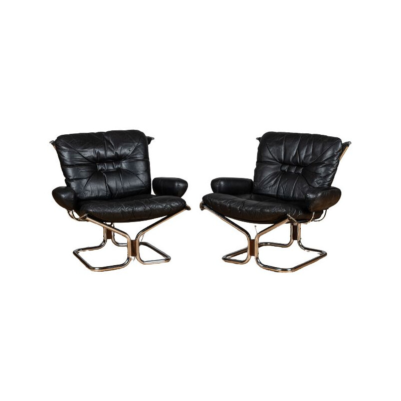 Pair of vintage chrome and leather faueuils by Ingmar Relling for Westnofa 1960