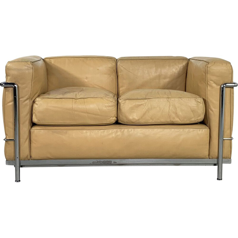 Vintage LC2 2-seater Sofa by Le Corbusier for Cassina 1970s