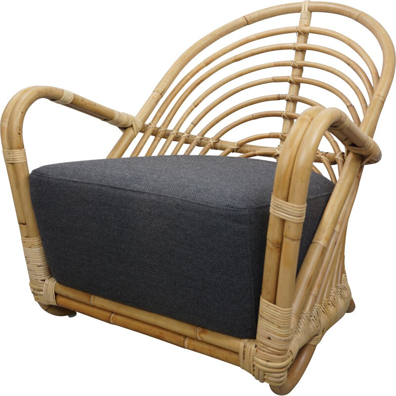 Vintage rattan armchair model aj237 by Arne Jacobsen