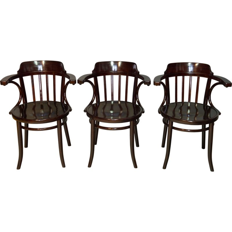 Set of 3 vintage Dining Chairs model 13 by Thonet 1930s