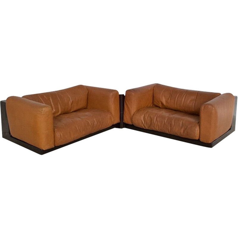 Pair of vintage modulable leather canapes by Boeri cini by Gavina 1970s