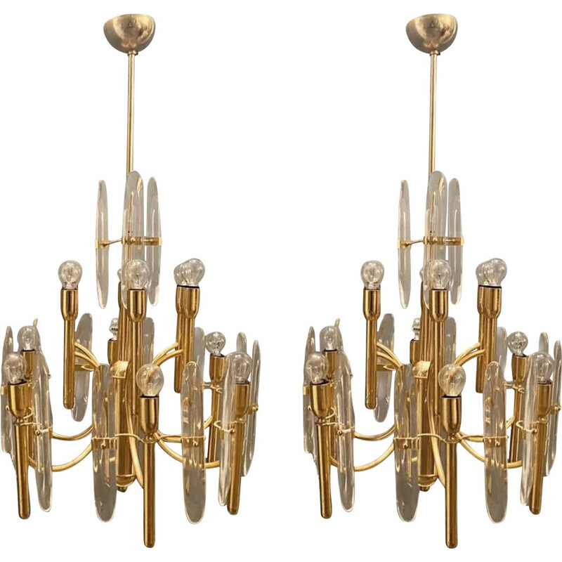 Pair of vintage Brass & Crystal Ceiling Lamps by Gaetano Sciolari 1970s
