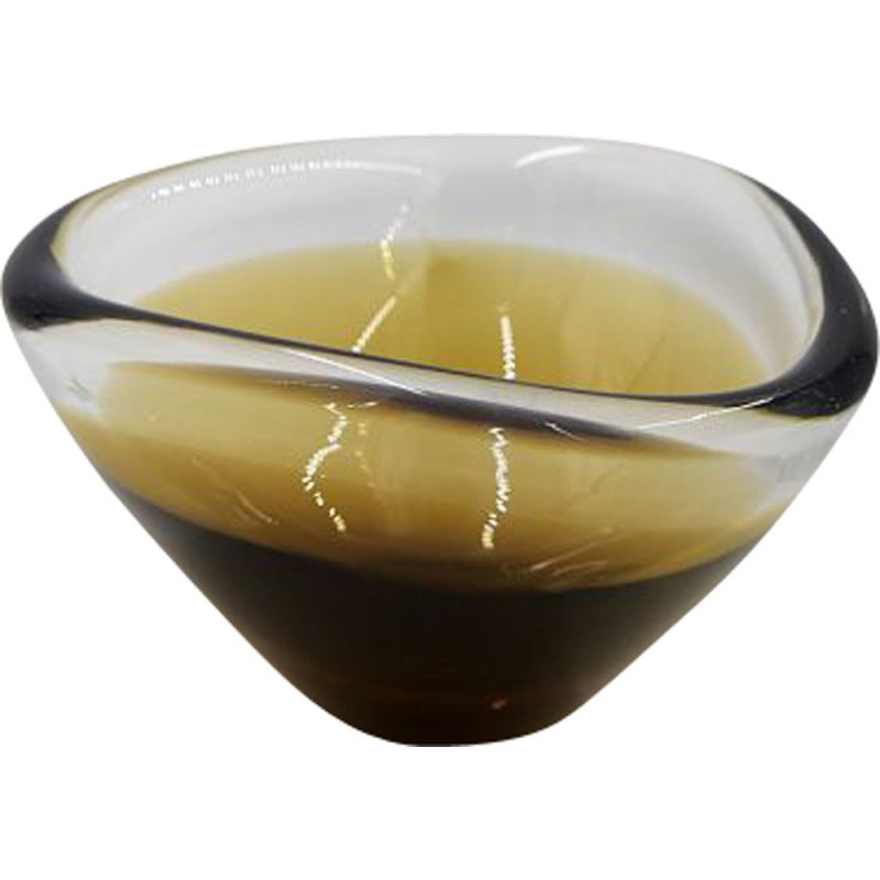 Mid-Century Sommerso Gold Brown Glass Bowl, Scandinavian 1950s
