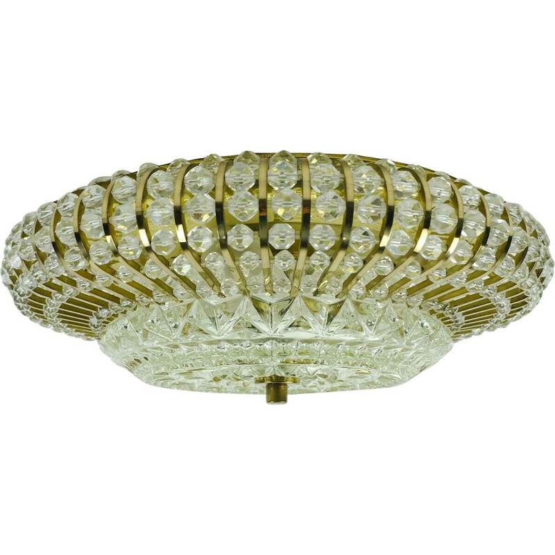 Vintag palwa ceiling lamp fixture brass and glass hollywood regency 1960s