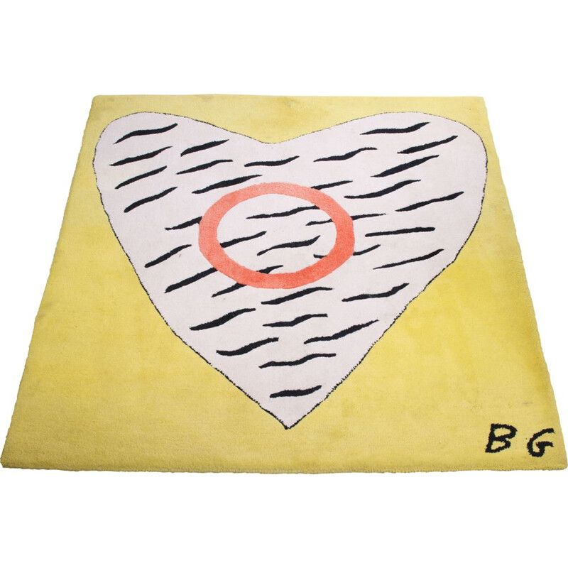 Vintage Rug with a large heart yellow with red and white 1970s