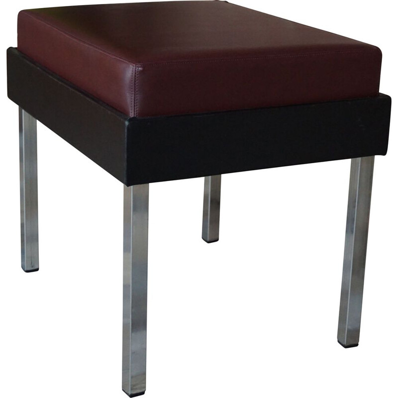Vintage Strafor stool in chrome and imitation leather 1950s
