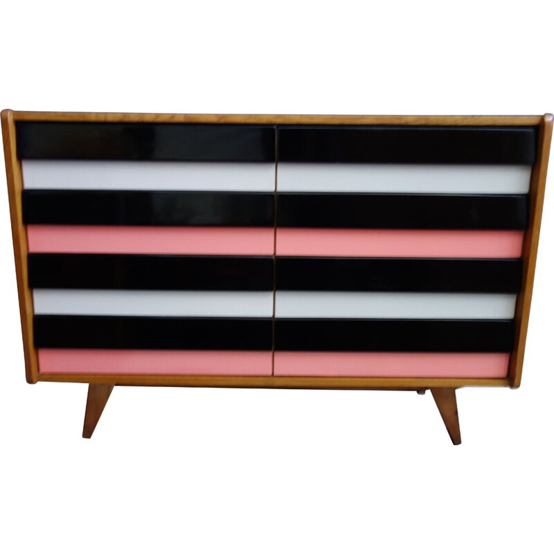 Vintage Sideboard Pink and Black Jiroutek drawer model U450 1960s