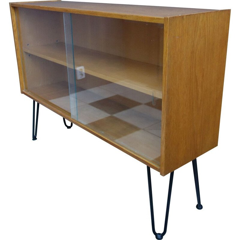 Vintage Display cabinet by Jiroutek on hairpin legs 1960s