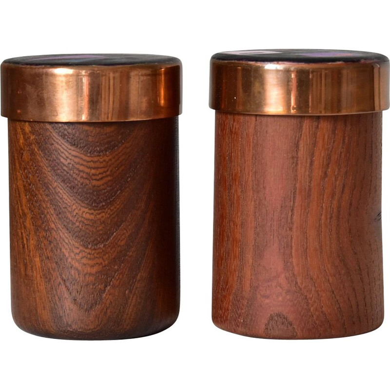 Pair of vintage Karl Schibensky Teak Boxes Enamel, Germany 1960s