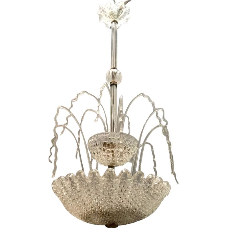 Vintage Art Deco Murano Glass Waterfall Chandelier by Ercole Barovier 1950s
